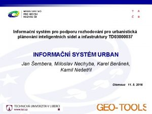 Informan systm pro podporu rozhodovn pro urbanistick plnovn