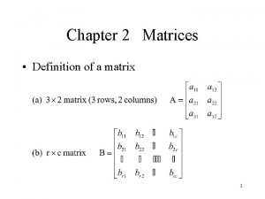 Chapter 2 Matrices Definition of a matrix 1