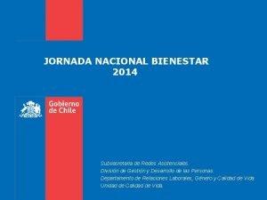 JORNADA NACIONAL BIENESTAR 2014 Subsecretaria de Redes Asistenciales