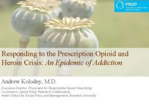 Responding to the Prescription Opioid and Heroin Crisis