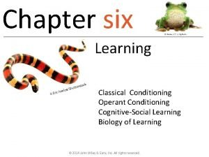 Chapter six Learning Classical Conditioning Operant Conditioning CognitiveSocial
