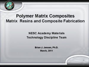 Polymer Matrix Composites Matrix Resins and Composite Fabrication