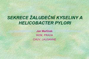 SEKRECE ALUDEN KYSELINY A HELICOBACTER PYLORI Jan Martnek