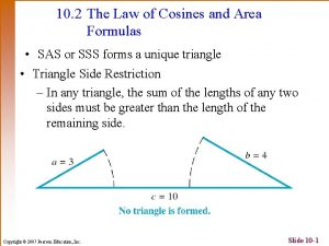 10 2 The Law of Cosines and Area