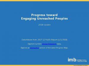 Progress toward Engaging Unreached Peoples 2018 Update Data