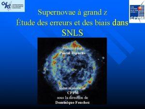 Supernovae grand z tude des erreurs et des