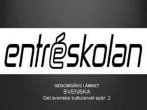 GENOMGNG I MNET SVENSKA Det svenska kulturarvet spr