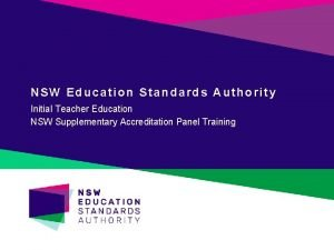NSW Education Standards Authority Initial Teacher Education NSW