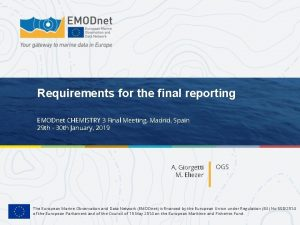 Requirements for the final reporting EMODnet CHEMISTRY 3