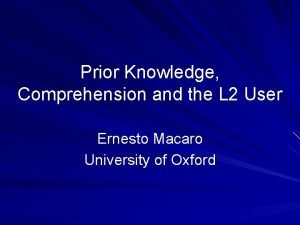 Prior Knowledge Comprehension and the L 2 User