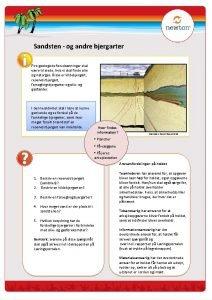 Sandsten og andre bjergarter Fire geologiske forudstninger skal