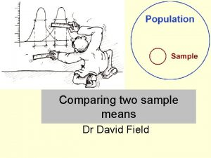 Comparing two sample means Dr David Field Comparing