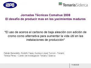 Jornadas Tcnicas Comahue 2008 El desafo de producir