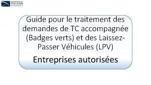 Guide pour le traitement des demandes de TC