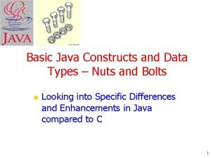 Basic Java Constructs and Data Types Nuts and