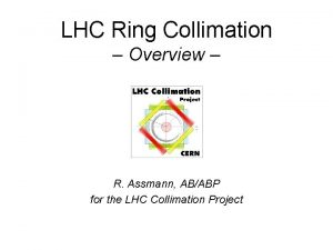 LHC Ring Collimation Overview R Assmann ABABP for