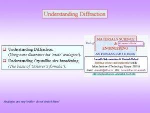 Understanding Diffraction Part of q Understanding Diffraction Using