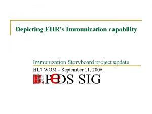 Depicting EHRs Immunization capability Immunization Storyboard project update