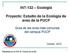 INT132 Ecologa Proyecto Estudio de la Ecologa de