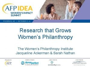 Research that Grows Womens Philanthropy The Womens Philanthropy