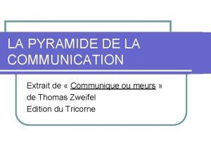 LA PYRAMIDE DE LA COMMUNICATION Extrait de Communique
