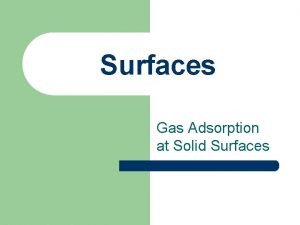 Surfaces Gas Adsorption at Solid Surfaces Definitions l