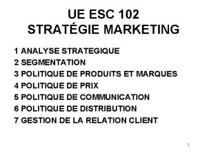 UE ESC 102 STRATGIE MARKETING 1 ANALYSE STRATEGIQUE