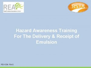 Hazard Awareness Training For The Delivery Receipt of