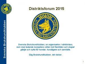 Svenska Brukshundklubben Distriktsforum 2015 Svenska Brukshundklubben en organisation