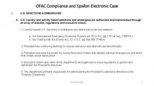 OFAC Compliance and Epsilon Electronic Case I U