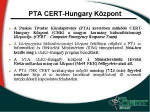 PTA CERTHungary Kzpont A Pusks Tivadar Kzalaptvny PTA
