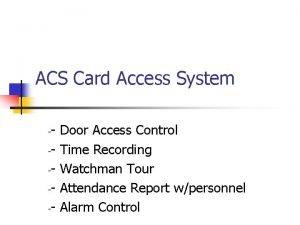 ACS Card Access System Door Access Control Time