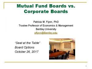 Mutual Fund Boards vs Corporate Boards Patricia M