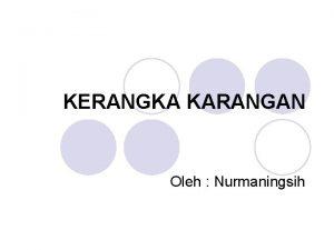 KERANGKA KARANGAN Oleh Nurmaningsih a Pengertian Kerangka Karangan