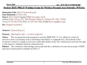 March 2004 doc IEEE 802 15 05 0098