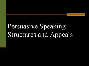 Persuasive Speaking Structures and Appeals ProblemSolution Pattern Introduction