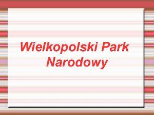 Wielkopolski Park Narodowy POOENIE PARKU Wielkopolski Park Narodowy