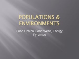 POPULATIONS ENVIRONMENTS Food Chains Food Webs Energy Pyramids