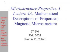 1 Objective Linear Props Magnetism Ferromagnets Domains Wall