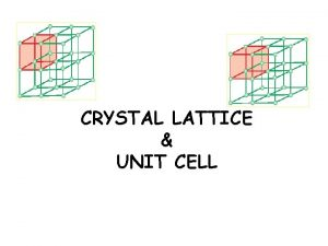 CRYSTAL LATTICE UNIT CELL Crystal Lattice a regular