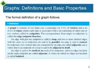 Graphs Definitions and Basic Properties The formal definition