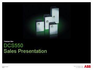 Thomas Vinz DCS 550 Sales Presentation ABB DC