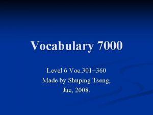 Vocabulary 7000 Level 6 Voc 301360 Made by