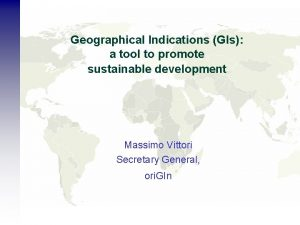 Geographical Indications GIs a tool to promote sustainable