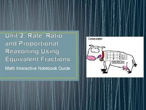 Unit 2 Rate Ratio and Proportional Reasoning Using