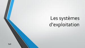 Les systmes dexploitation Ss D Dfinition Un systme