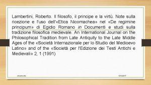 Lambertini Roberto Il filosofo il principe e la