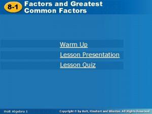 Factors and Greatest Common Factors 8 1 Common
