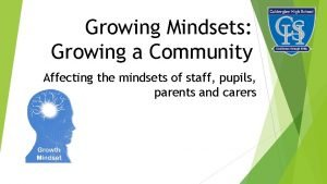 Growing Mindsets Growing a Community Affecting the mindsets