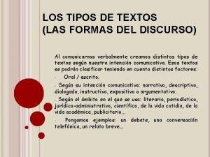 LOS TIPOS DE TEXTOS LAS FORMAS DEL DISCURSO